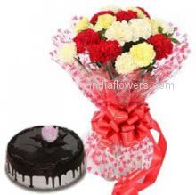 Bunch of 20 Mixed carnation nicely decorated with Half kg..chocolate cake