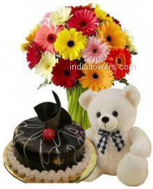 Mixed Flowers Cake Combo