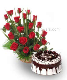 Basket of 20 Red Roses nicely decorated with half kg. black forest cake