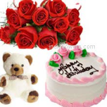 Bunch of 12 red roses nicely decorated with half kg. strawberry cake and 12 inch teddy