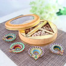 Hamper of Mixed Dryfruits Almonds and Pistachio with 4pc decorative diya. This Combo Contains 250gms of Mixed Dry Fruits and 2pc Glass Tealight