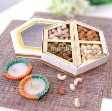 Decorative Box of 250gms Mixed Dryfruits and 2pc Decorative Diya