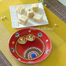 Small Pooja decorative Thali with Haldiram 250gms Soanpadi mithai for this diwali