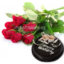 Combo of Bunch of 6pc of Red Roses and Half Kg. Chocolate Truffle Cake.