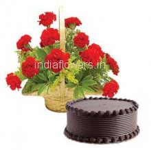 Cake and flowers combo