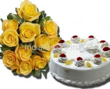 Yellow Roses and cake Combo