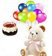 12 Inch Teddy , Half Kg. Black Forest Cake and 5 pc Balloons