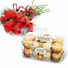 Bunch of 6 Red Roses and 16 pc ferrero rocher chocolate