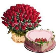 Basket of Roses with Heart Cake