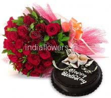 Bunch of 25 Red Roses with fillers and ribbons and Half Kg. Chocolate Cake
