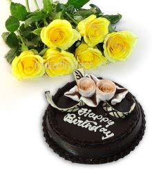 Bunch of 6 Yellow Roses with fillers and ribbons and Half Kg. Chocolate Cake