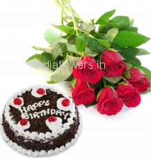 Bunch of 6 Red Roses with Plastic Cellophane packing and Half Kg. Black Forest Cake