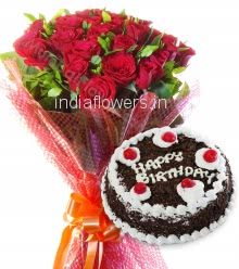 Bunch of 15 Red Roses with Plastic Cellophane packing and Half Kg. Black Forest cake