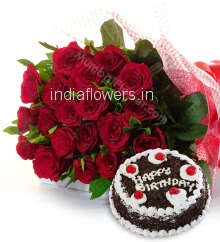 Bunch of 35 Red Roses with Plastic Cellophane packing and Half Kg. Black Forest cake