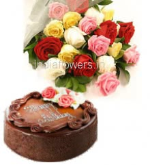 Bunch Of 20 Mixed Colored Roses and Half Eggless Kg. Chocolate Truffle Cake