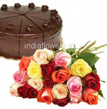 Bunch of 20 Mixed colored Rose and Half Kg. Chocolate Cake