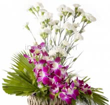 Flower Arrangement of 6 Purple Orchids and 20 White Carnation nicely decorated with fillers