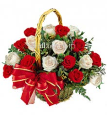 Basket of Red White Roses