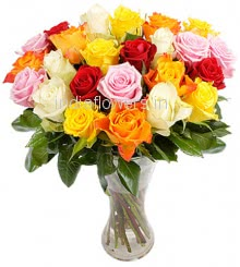 Glass Vase with 20 Mixed Colored Roses nicely decorated with fillers