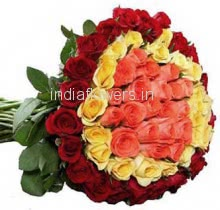 Bunch of 70 Mix Red, Pink, and Yellow Roses nicely decorated with fillers and ribbons
