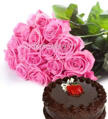 Bunch of 20 Pink Roses and Half kg. Chocolate Truffle Cake