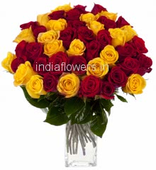 60 Red and Yellow Roses
