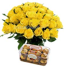 Bunch of 30 Yellow Roses and 16 PC Ferrero Rocher Chocolate