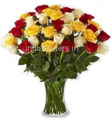 Glass Vase with 40 mix yellow, Red and White Roses nicely decorated with greens