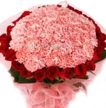 Bunch of 20 Red Roses and 30 Pink Carnation nicely decorated with Paper Packing and ribbons