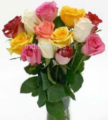 15 Mixed Roses in Vase