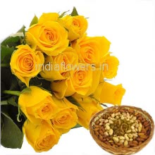 Bunch of 12 Yellow Roses with Plastic Cellophane packing and Pack of 500 gm. Mixed Dry Fruits
