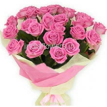 Bunch of 25 Pink Roses nicely decorated with ribbons