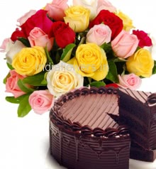 Basket of 20 Mixed color Roses with Greens  and Half Kg. Chocolate Cake