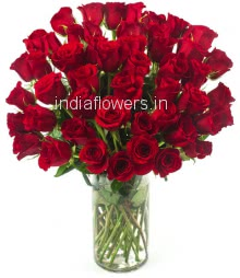 Glass vase with 45 Red Roses nicely decorated with greens