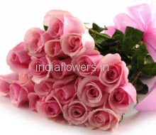 Bunch of 25 Pink Roses nicely decorated with fillers and ribbons