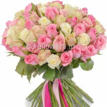 Bunch of 25 Pink and 25 White Roses nicely decorated with Paper Packing and Ribbons
