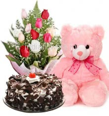 Bunch of 12 Mixed Colored Roses with Plastic Cellophane packing, Half Kg.Black Forest Cake and 12 Inch Teddy