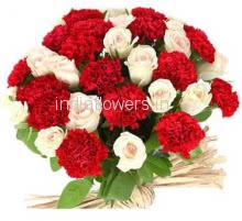Bunch of 15 Carnation and 15 Roses nicely decorated with fillers and ribbons