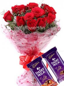 Bunch of 12 Red Roses with Plastic Cellophane packing and 2 PC CadBury Dairy Milk Silk
