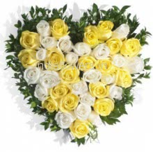 Heart of Yellow and White Roses