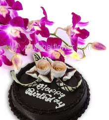 Bunch of 3 Purple Orchids nicely decorated with fillers and ribbons and Half Kg. Chocolate Cake