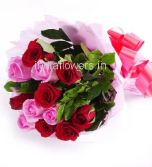 Bunch of 30 Pink and Red Roses nicely decorated with Paper Packing and ribbons