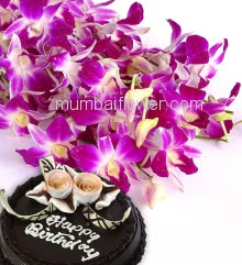 Bunch of 6 Purple Orchids with ribbons and Half Kg. Chocolate Cake, Nice Orchid Combo