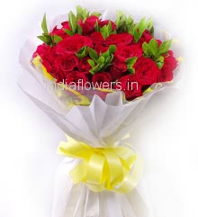 Bunch of 20 Red Roses with fillers Ribbons and Paper Packing, the most lovely and cute. say with it, give me hug