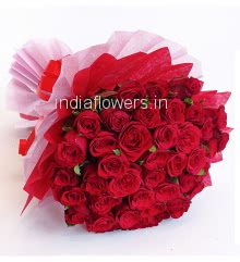 Exclusive Hand Bunch of 60 Red Roses with fillers and ribbons, with exclusive Paper Packing