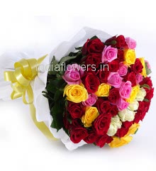 Bunch of 60 Mixed Color Roses nicely decorated with fillers and ribbons, packed with paper packing.
