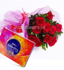 Bunch of 12 Red Roses and Box of Small Cadbury Celerbration Combo