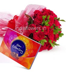 Bequtiful Bouquet of 30 Red Roses nicely decorated with fillers ribbons, and Box of Cadbury Celebration
