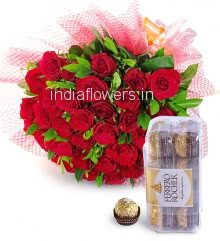 Hand Bunch of 30 Red Roses nicely decorated with fillers and ribbons and Box of 16pc Ferrero Rocher Chocolates