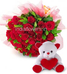 Romantic Bunch of 30 Red Roses nicely decorated with fillers and ribbons and Paper Packing with 6 Inch Teddy Bear
